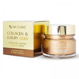 Крем для упругости кожи 3W CLINIC Collagen and Luxury Gold Cream 100 мл