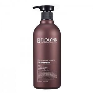 Восстанавливающая маска-бальзам для волос с кератином FLOLAND Premium Silk Keratin - 530ml