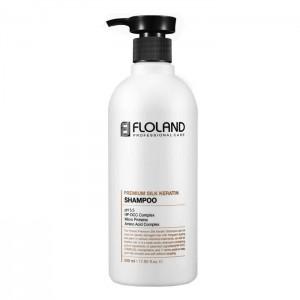 Восстанавливающий шампунь с кератином FLOLAND Premium Silk Keratin Shampoo - 530ml