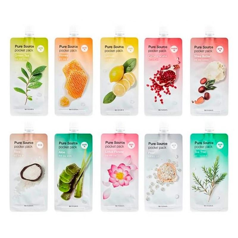 Маски для лица в тюбиках MISSHA Pure Source Pocket Pack - 10 мл.