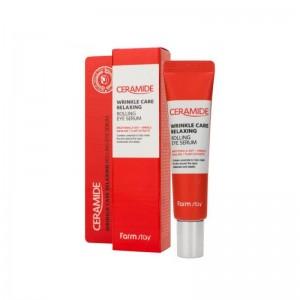 Сыворотка-роллер с керамидами для кожи вокруг глаз FARMSTAY Ceramide Wrinkle Care Relaxing Rolling Eye Serum 25мл