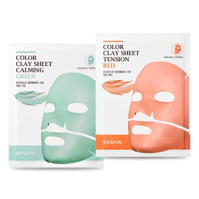 Глиняная тканевая маска для лица G9 Skin Color Clay Sheet - 20 гр