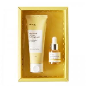 Витаминный наборс прополисом сыворотка и ночная маска iUNIK Propolis Edition Skincare Set