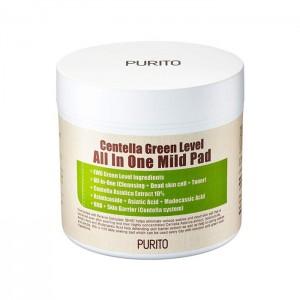 Очищающие увлажняющие пэды с центеллой PURITO Centella Green Level All In One Mild Pad 70 шт