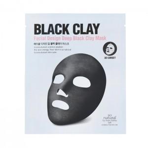 3D Маска-корсет с черным углем SO NATURAL Facial Design Deep Black Clay Mask - 14 гр