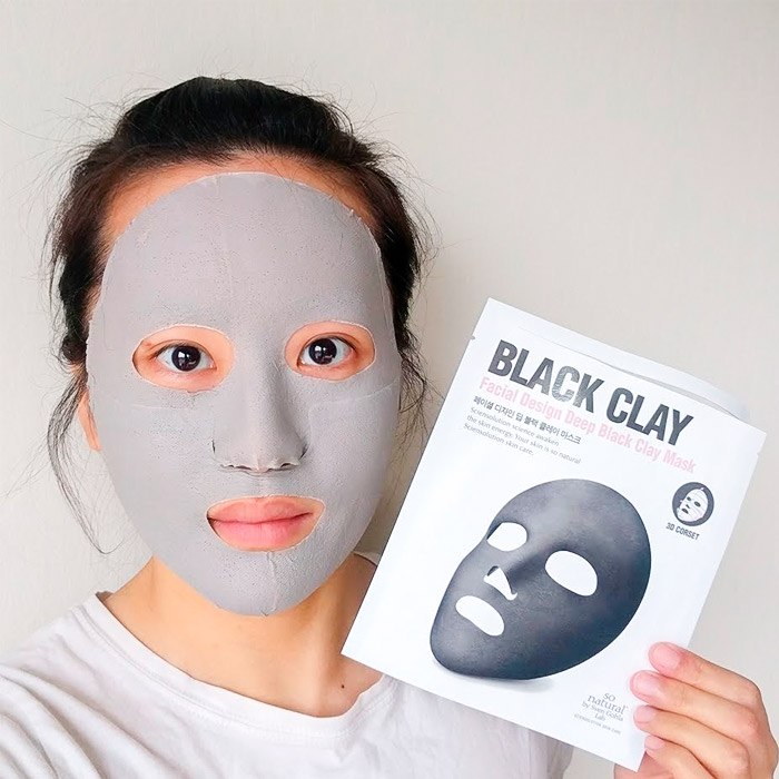 3D Маска-корсет с черным углем SO NATURAL Facial Design Deep Black Clay Mask